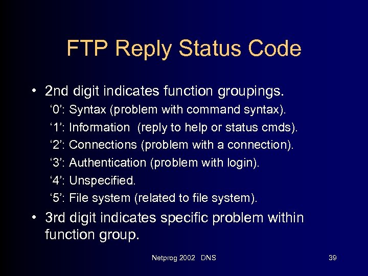 FTP Reply Status Code • 2 nd digit indicates function groupings. ' 0': Syntax