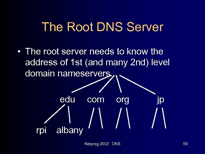 The Root DNS Server • The root server needs to know the address of