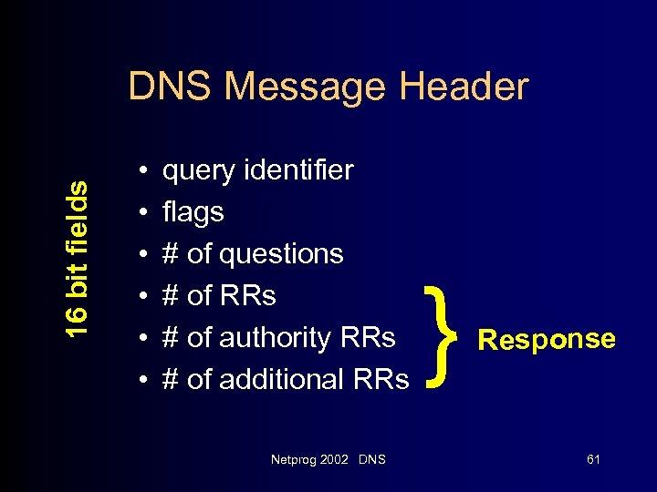 16 bit fields DNS Message Header • • • query identifier flags # of