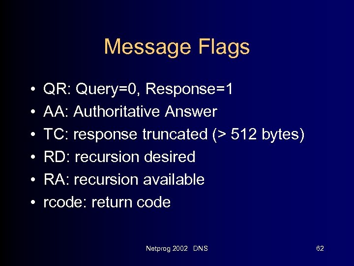 Message Flags • • • QR: Query=0, Response=1 AA: Authoritative Answer TC: response truncated