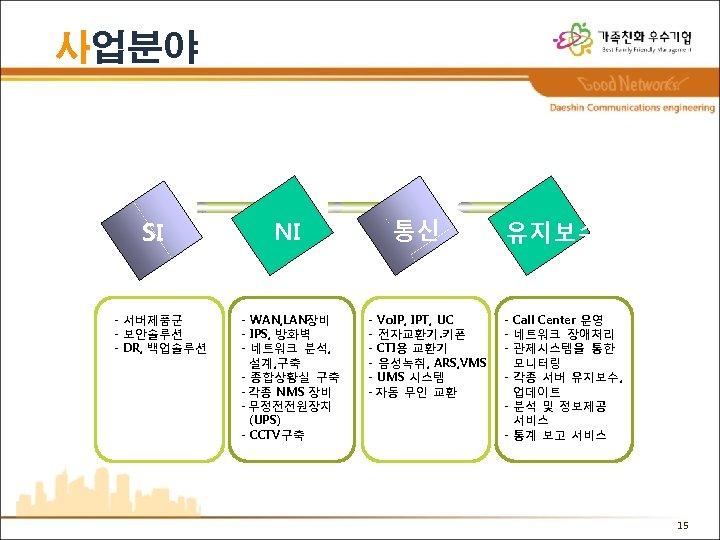 사업분야 SI - 서버제품군 - 보안솔루션 - DR, 백업솔루션 NI - WAN, LAN장비 -