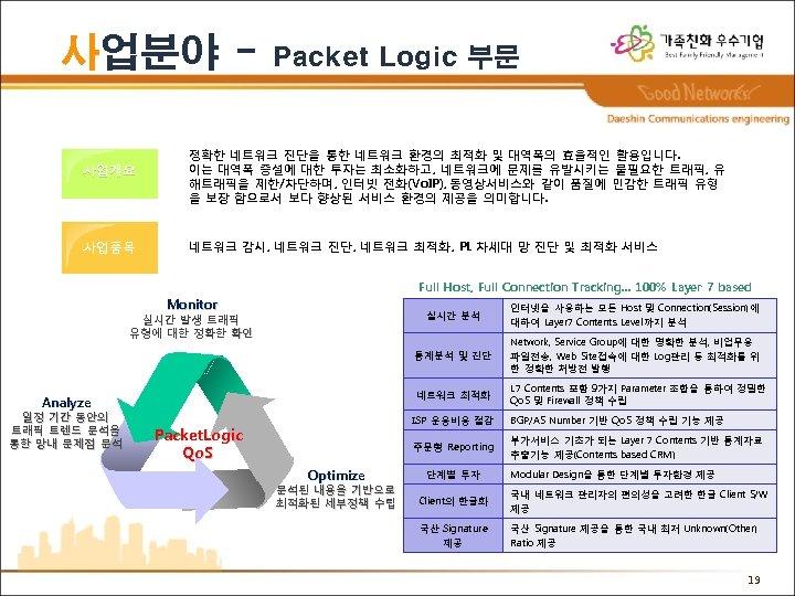 사업분야 사업개요 사업품목 Packet Logic 부문 정확한 네트워크 진단을 통한 네트워크 환경의 최적화 및