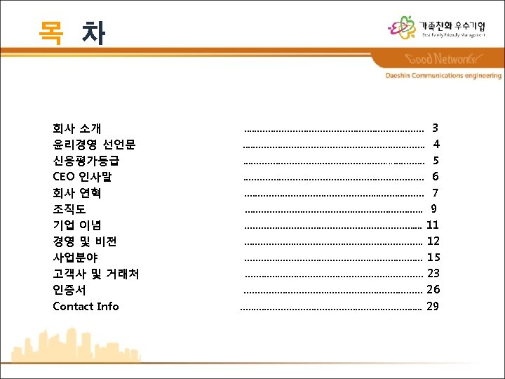 목 차 회사 소개 윤리경영 선언문 신용평가등급 CEO 인사말 회사 연혁 조직도 기업 이념