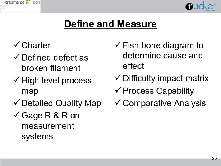Define and Measure ü Charter ü Defined defect as broken filament ü High level