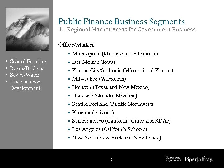 Public Finance Business Segments 11 Regional Market Areas for Government Business Office/Market § •