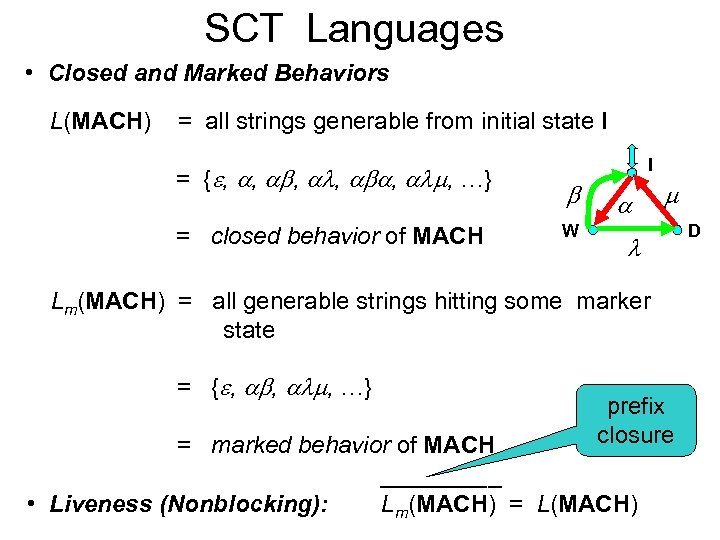 SCT Languages • Closed and Marked Behaviors L(MACH) = all strings generable from initial