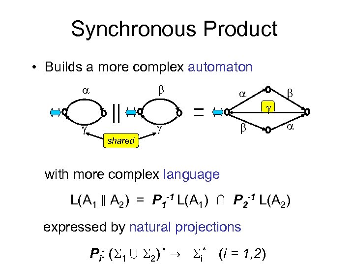 Synchronous Product • Builds a more complex automaton shared with more complex language L(A