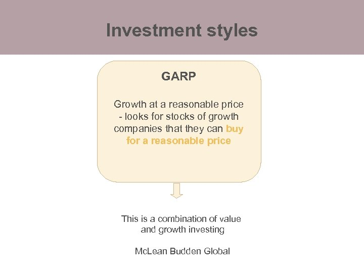 Investment styles GARP Growth at a reasonable price - looks for stocks of growth