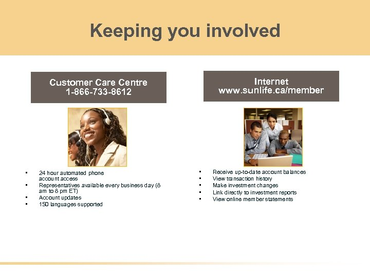 Keeping you involved Internet www. sunlife. ca/member Customer Care Centre 1 -866 -733 -8612