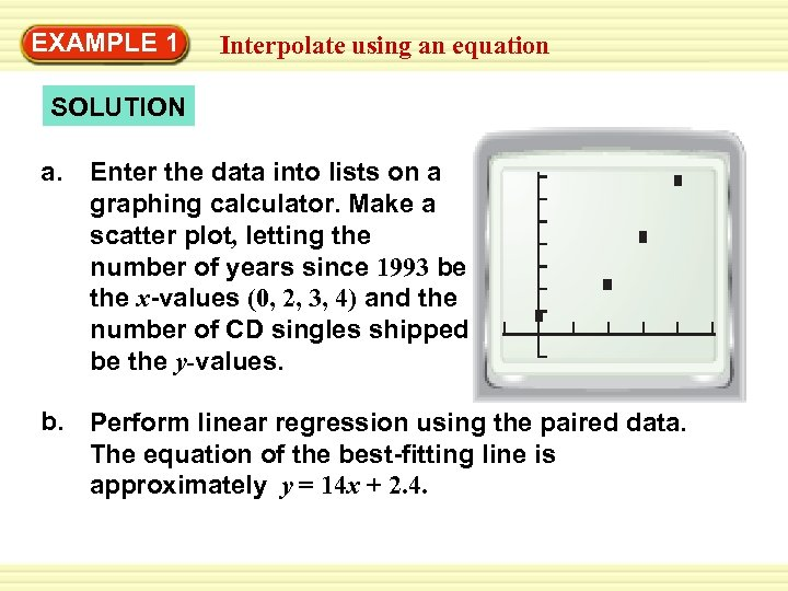 EXAMPLE 1 Interpolate using an equation SOLUTION a. Enter the data into lists on