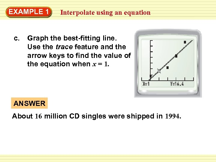 EXAMPLE 1 c. Interpolate using an equation Graph the best-fitting line. Use the trace