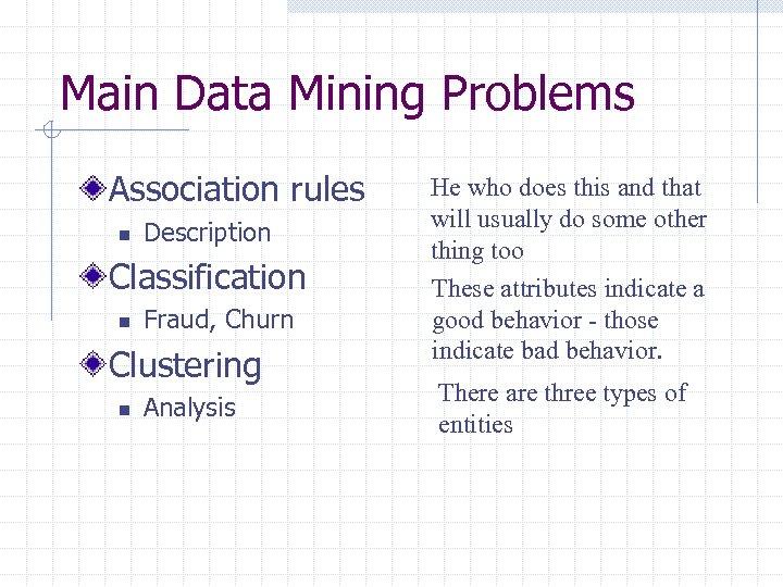 Main Data Mining Problems Association rules n Description Classification n Fraud, Churn Clustering n