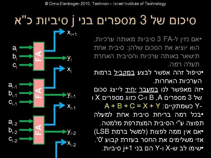 © Dima Elenbogen 2010, Technion – Israel Institute of Technology סיכום של 3