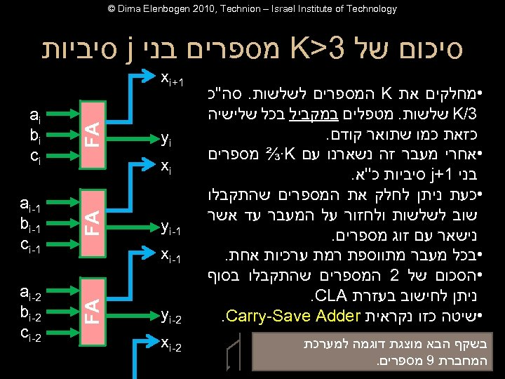 © Dima Elenbogen 2010, Technion – Israel Institute of Technology סיכום של 3>