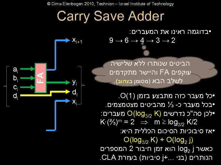 © Dima Elenbogen 2010, Technion – Israel Institute of Technology Carry Save Adder