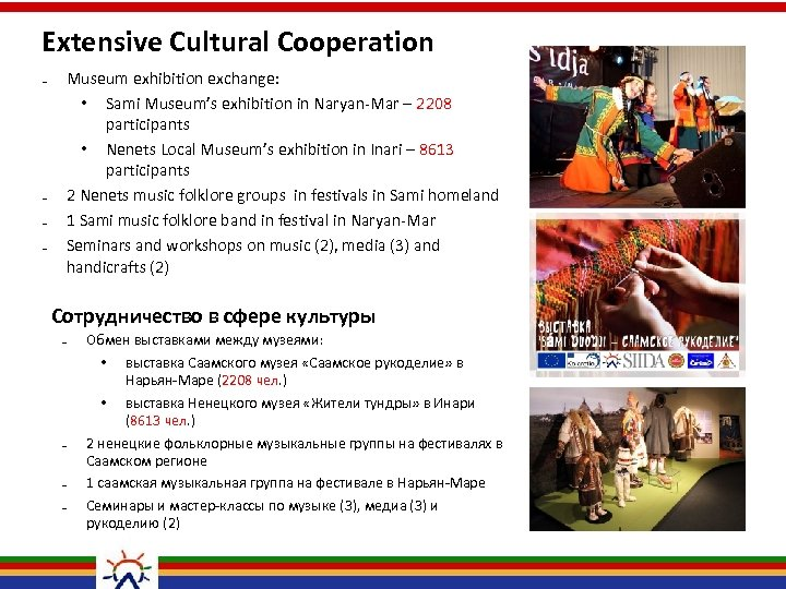 Extensive Cultural Cooperation ₋ ₋ Museum exhibition exchange: • Sami Museum's exhibition in Naryan-Mar