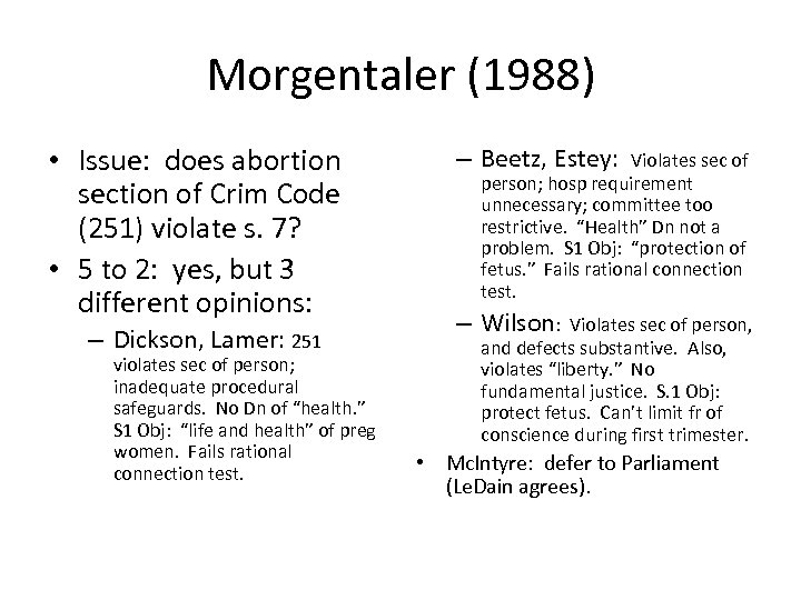 Morgentaler (1988) • Issue: does abortion section of Crim Code (251) violate s. 7?