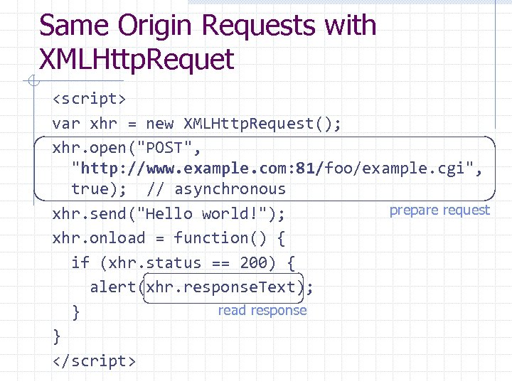Same Origin Requests with XMLHttp. Requet <script> var xhr = new XMLHttp. Request(); xhr.