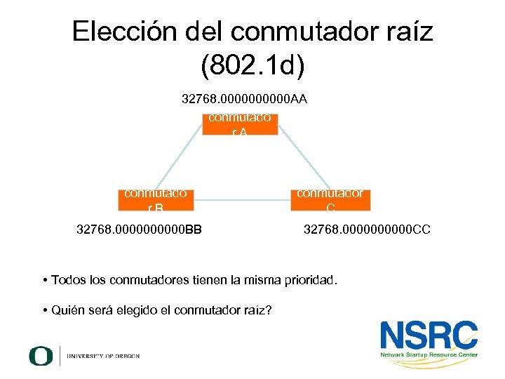 Elección del conmutador raíz (802. 1 d) 32768. 00000 AA conmutado r. B 32768.