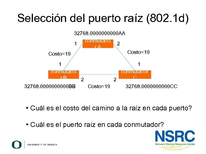Selección del puerto raíz (802. 1 d) 32768. 00000 AA conmutado 1 2 r.