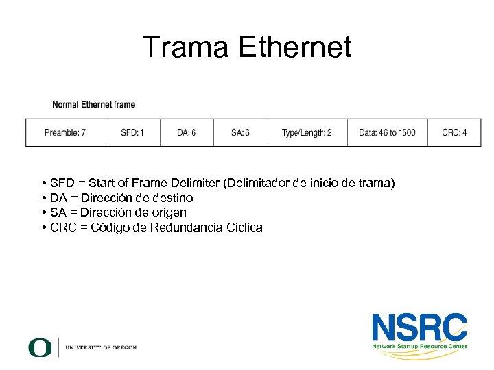 Trama Ethernet • SFD = Start of Frame Delimiter (Delimitador de inicio de trama)