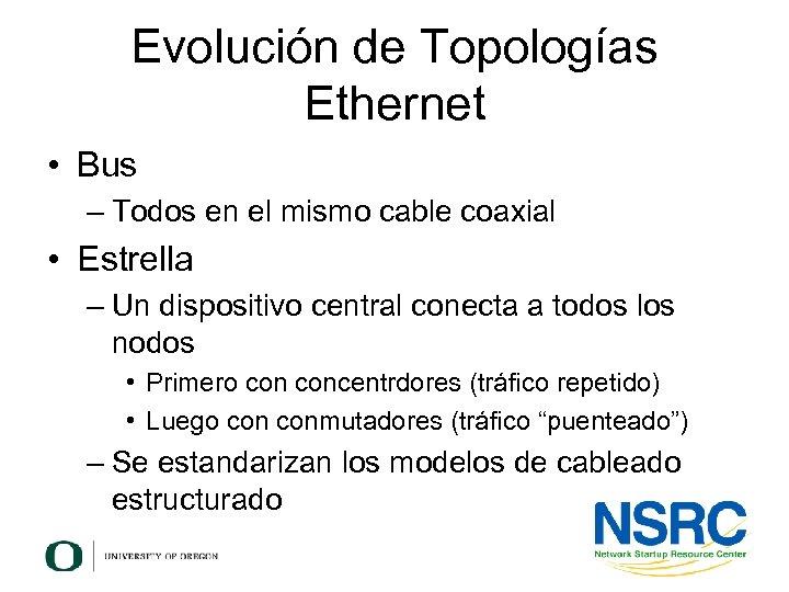 Evolución de Topologías Ethernet • Bus – Todos en el mismo cable coaxial •