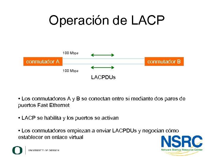 Operación de LACP 100 Mbps conmutador A conmutador B 100 Mbps LACPDUs • Los