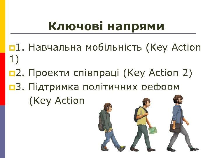 Ключові напрями p 1. Навчальна мобільність (Key Action 1) p 2. Проекти співпраці (Key