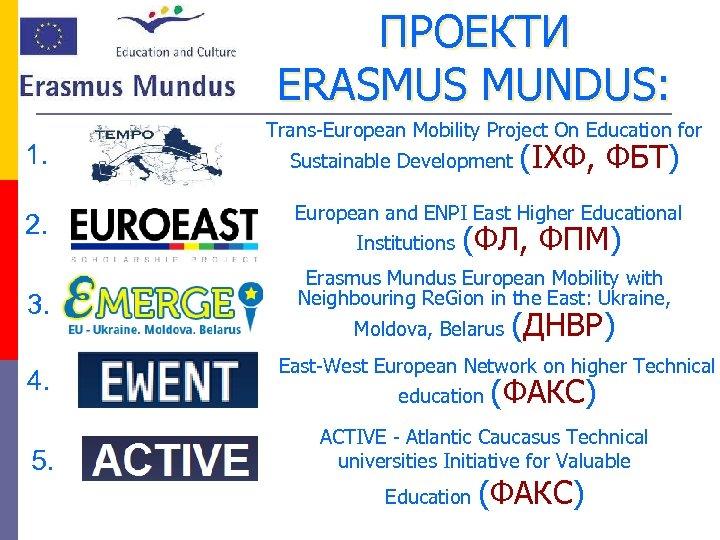 ПРОЕКТИ ERASMUS MUNDUS: 1. 2. 3. 4. 5. Trans-European Mobility Project On Education for