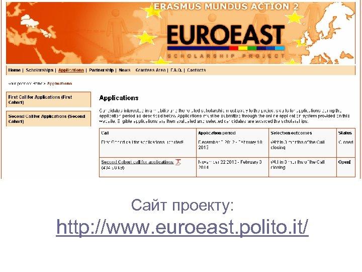 Сайт проекту: http: //www. euroeast. polito. it/