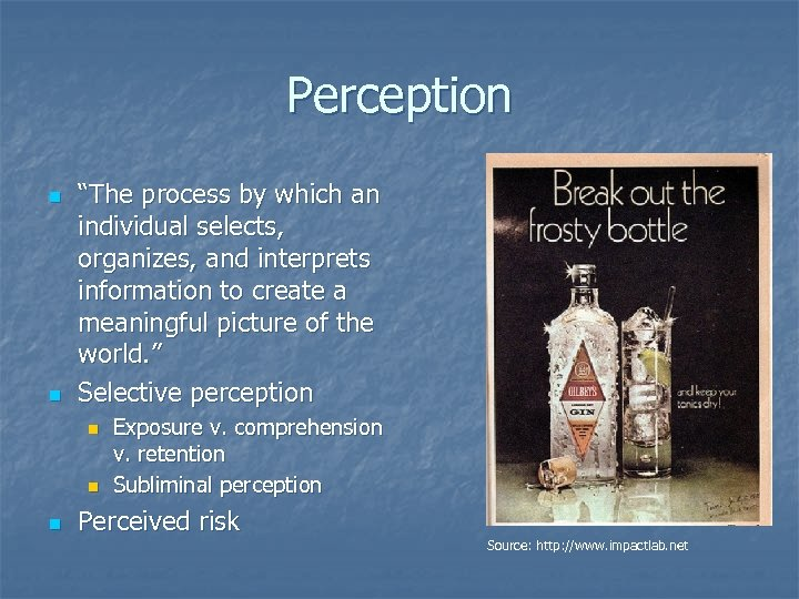 """Perception n n """"The process by which an individual selects, organizes, and interprets information"""