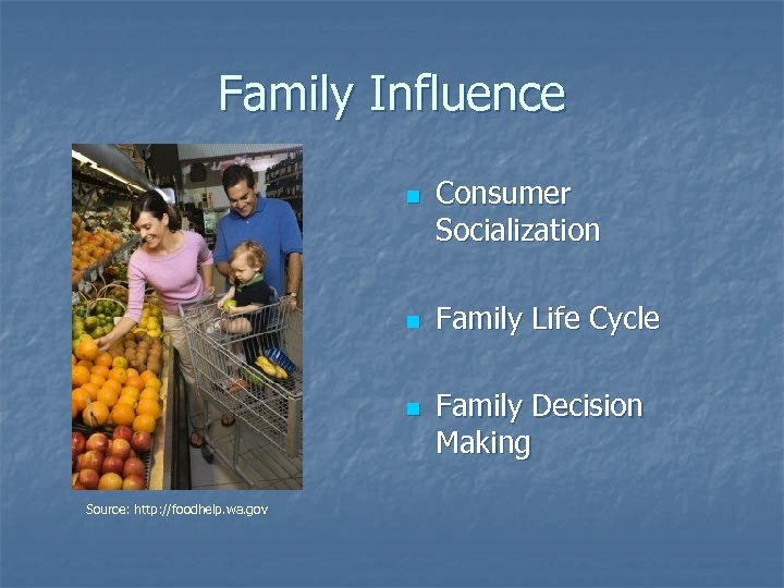Family Influence n n n Source: http: //foodhelp. wa. gov Consumer Socialization Family Life