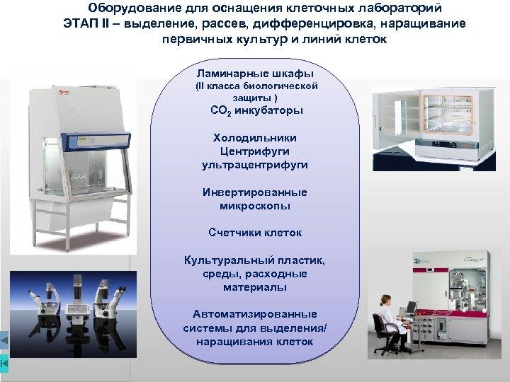 Оборудование для оснащения клеточных лабораторий ЭТАП II – выделение, рассев, дифференцировка, наращивание первичных культур