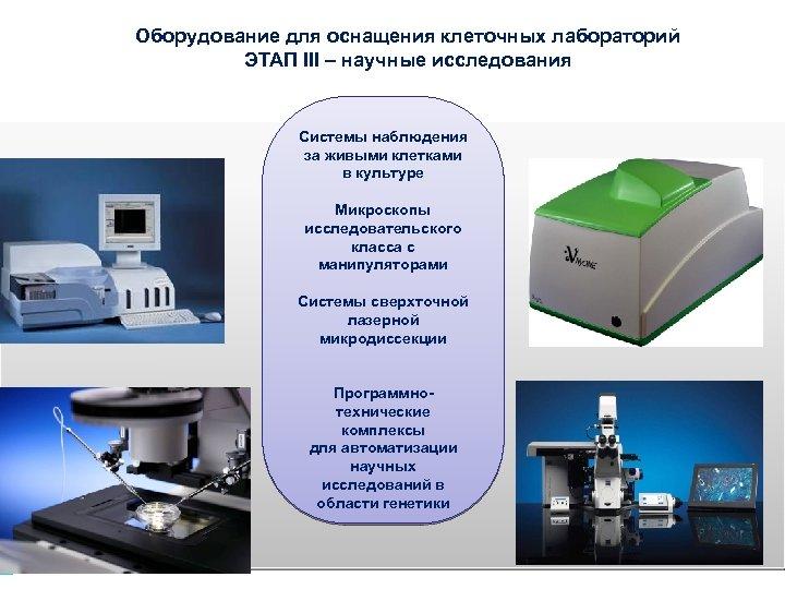 Оборудование для оснащения клеточных лабораторий ЭТАП III – научные исследования Системы наблюдения за живыми