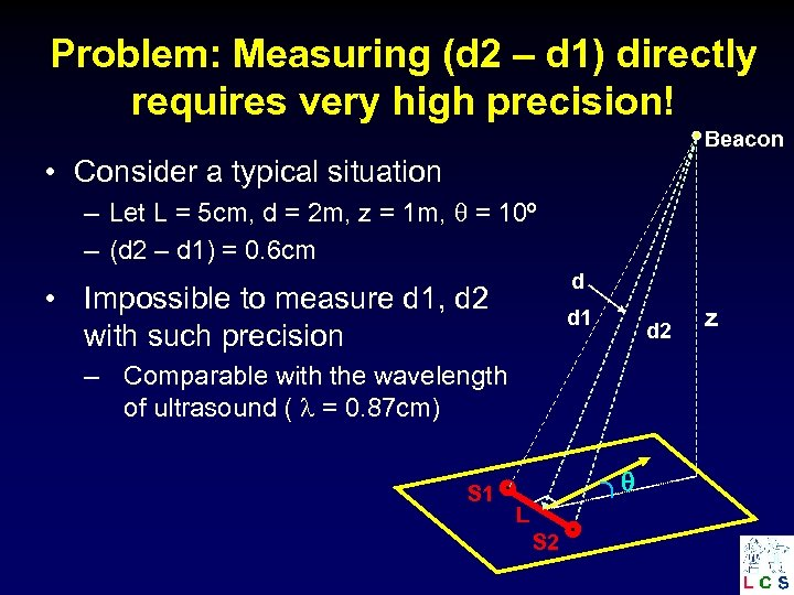 Problem: Measuring (d 2 – d 1) directly requires very high precision! Beacon •