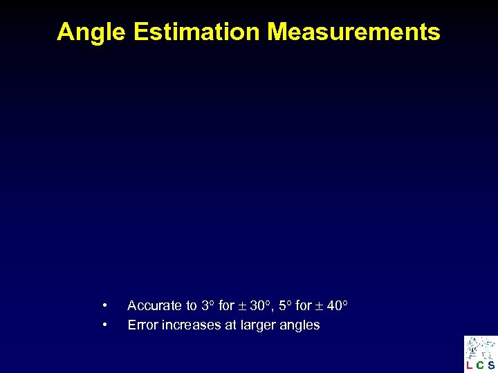 Angle Estimation Measurements • • Accurate to 3 for 30 , 5 for 40