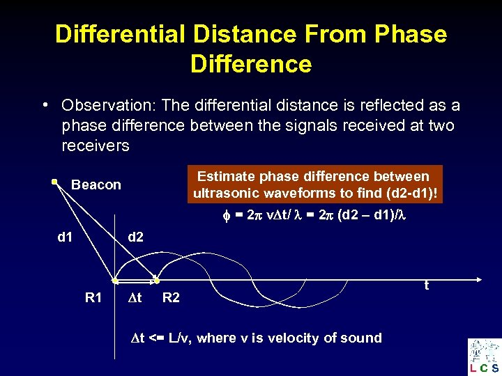 Differential Distance From Phase Difference • Observation: The differential distance is reflected as a