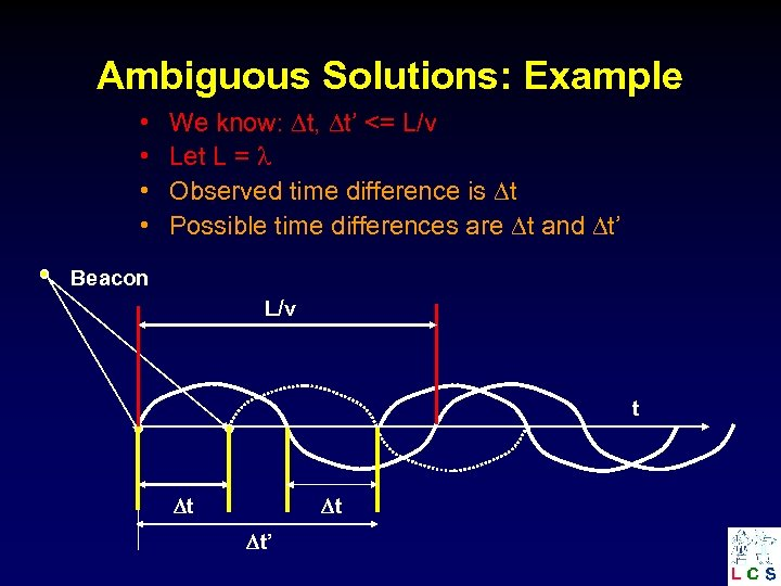Ambiguous Solutions: Example • • We know: t, t' <= L/v Let L =