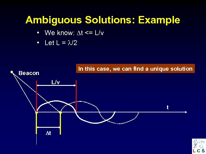Ambiguous Solutions: Example • We know: t <= L/v • Let L = /2