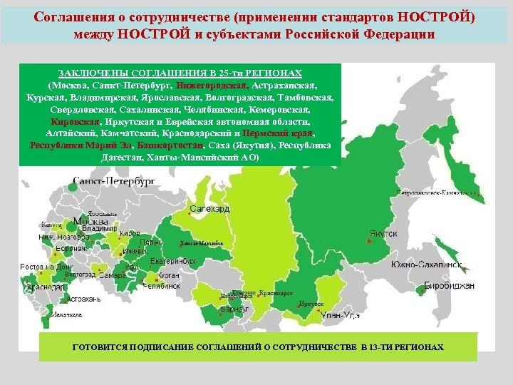 Соглашения о сотрудничестве (применении стандартов НОСТРОЙ) между НОСТРОЙ и субъектами Российской Федерации ЗАКЛЮЧЕНЫ СОГЛАШЕНИЯ