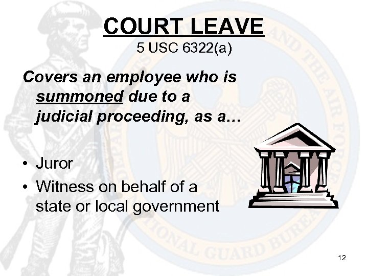 COURT LEAVE 5 USC 6322(a) Covers an employee who is summoned due to a