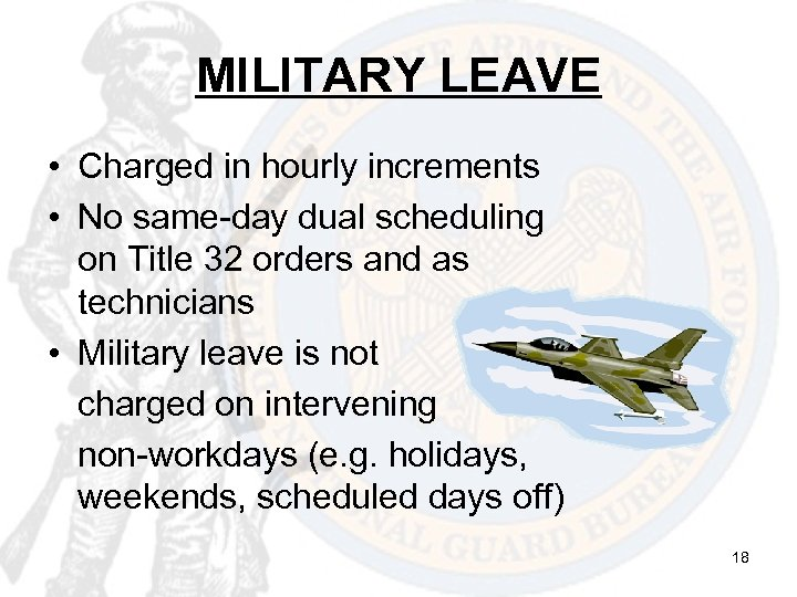 MILITARY LEAVE • Charged in hourly increments • No same-day dual scheduling on Title