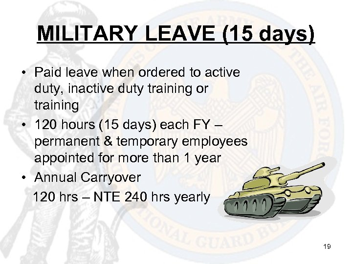 MILITARY LEAVE (15 days) • Paid leave when ordered to active duty, inactive duty