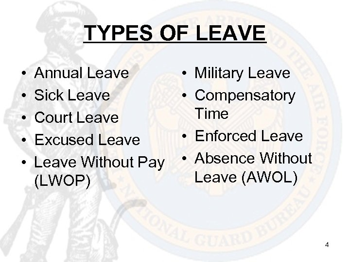 TYPES OF LEAVE • • • Annual Leave Sick Leave Court Leave Excused Leave