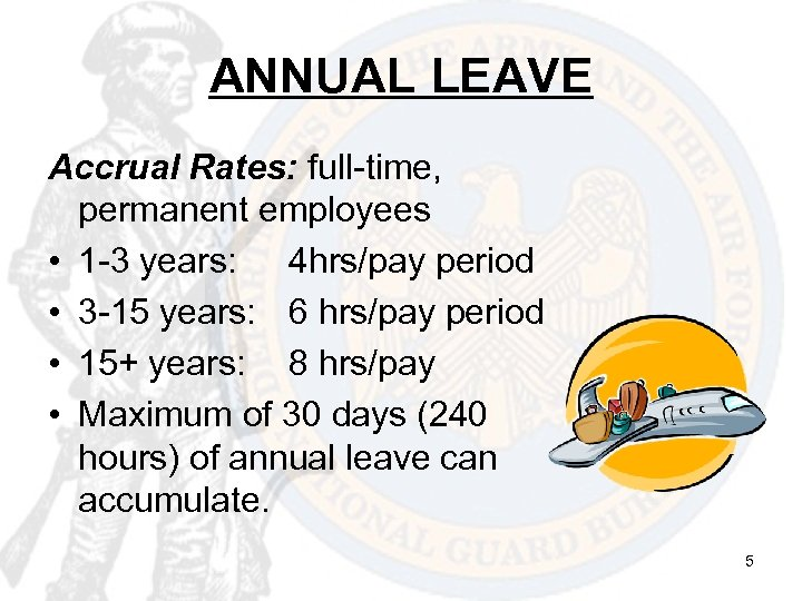 ANNUAL LEAVE Accrual Rates: full-time, permanent employees • 1 -3 years: 4 hrs/pay period