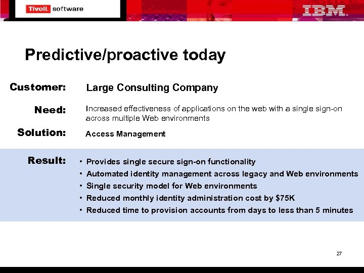 Predictive/proactive today Customer: Large Consulting Company Need: Increased effectiveness of applications on the web