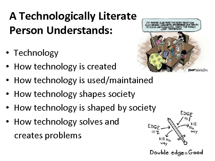 A Technologically Literate Person Understands: • • • Technology How technology is created How