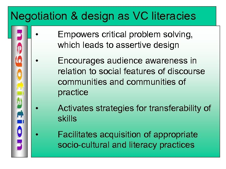 Negotiation & design as VC literacies • Discourse communities problem solving, Empowers critical Communities