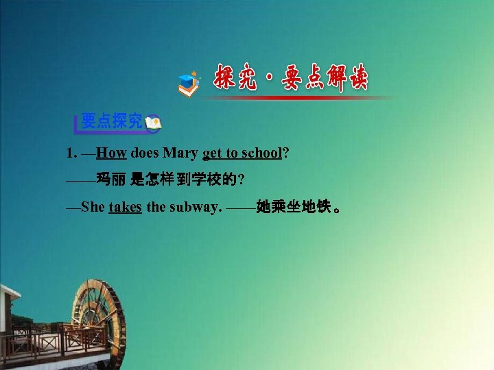 1. —How does Mary get to school? ——玛丽 是怎样 到学校的? —She takes the subway.
