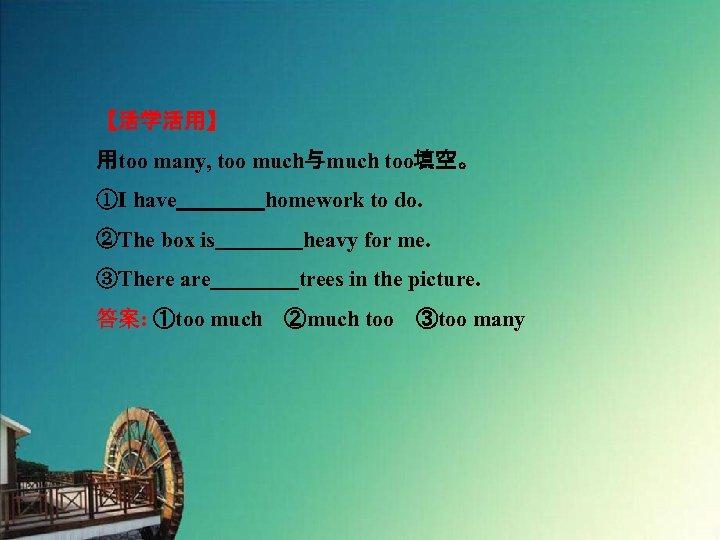 【活学活用】 用too many, too much与much too填空。 ①I have    homework to do. ②The box is    heavy for